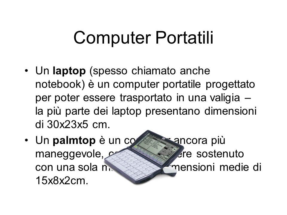 Computer Portatili Un laptop (spesso chiamato anche notebook) è un computer portatile progettato per poter essere trasportato in una valigia – la più parte dei laptop presentano dimensioni di 30x23x5 cm.