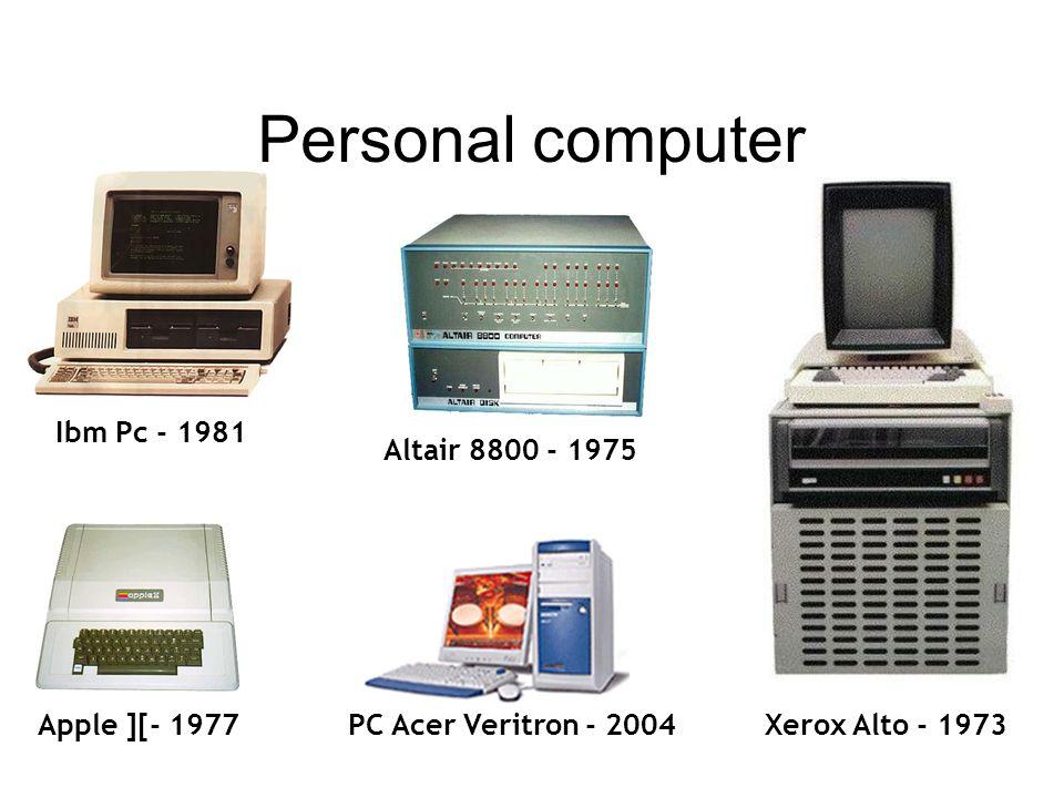 Ibm Pc - 1981 Apple ][- 1977 Altair 8800 - 1975 Xerox Alto - 1973 Personal computer PC Acer Veritron - 2004