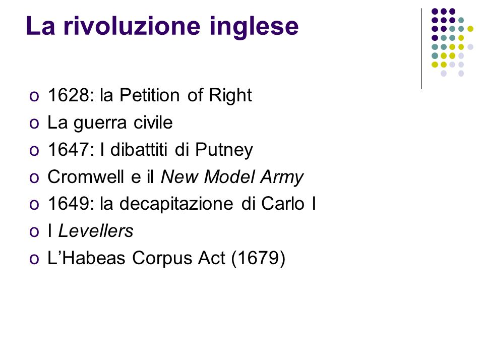 La rivoluzione inglese o1628: la Petition of Right oLa guerra civile o1647: I dibattiti di Putney oCromwell e il New Model Army o1649: la decapitazion