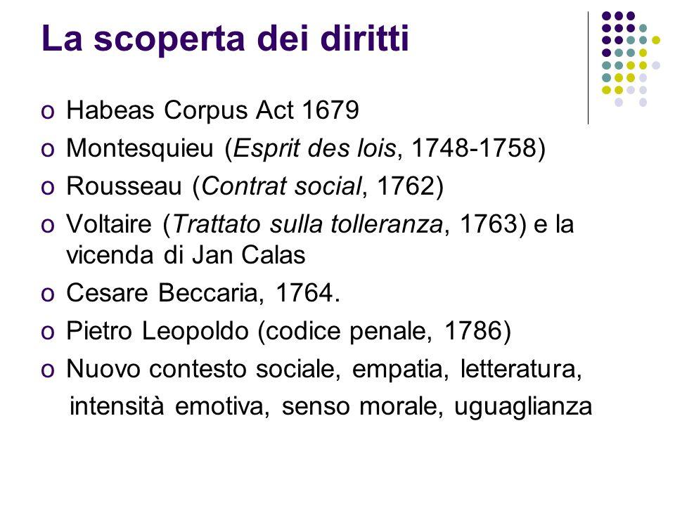 La scoperta dei diritti oHabeas Corpus Act 1679 oMontesquieu (Esprit des lois, 1748-1758) oRousseau (Contrat social, 1762) oVoltaire (Trattato sulla tolleranza, 1763) e la vicenda di Jan Calas oCesare Beccaria, 1764.