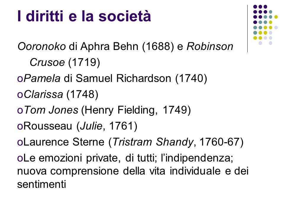 I diritti e la società Ooronoko di Aphra Behn (1688) e Robinson Crusoe (1719) oPamela di Samuel Richardson (1740) oClarissa (1748) oTom Jones (Henry Fielding, 1749) oRousseau (Julie, 1761) oLaurence Sterne (Tristram Shandy, 1760-67) oLe emozioni private, di tutti; lindipendenza; nuova comprensione della vita individuale e dei sentimenti