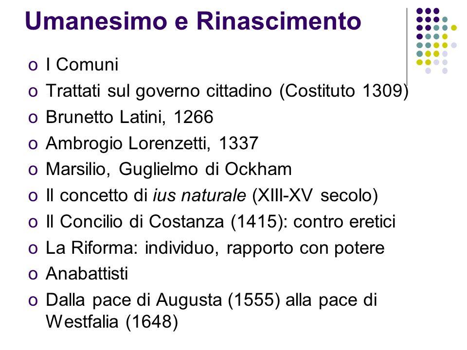 Umanesimo e Rinascimento oI Comuni oTrattati sul governo cittadino (Costituto 1309) oBrunetto Latini, 1266 oAmbrogio Lorenzetti, 1337 oMarsilio, Guglielmo di Ockham oIl concetto di ius naturale (XIII-XV secolo) oIl Concilio di Costanza (1415): contro eretici oLa Riforma: individuo, rapporto con potere oAnabattisti oDalla pace di Augusta (1555) alla pace di Westfalia (1648)