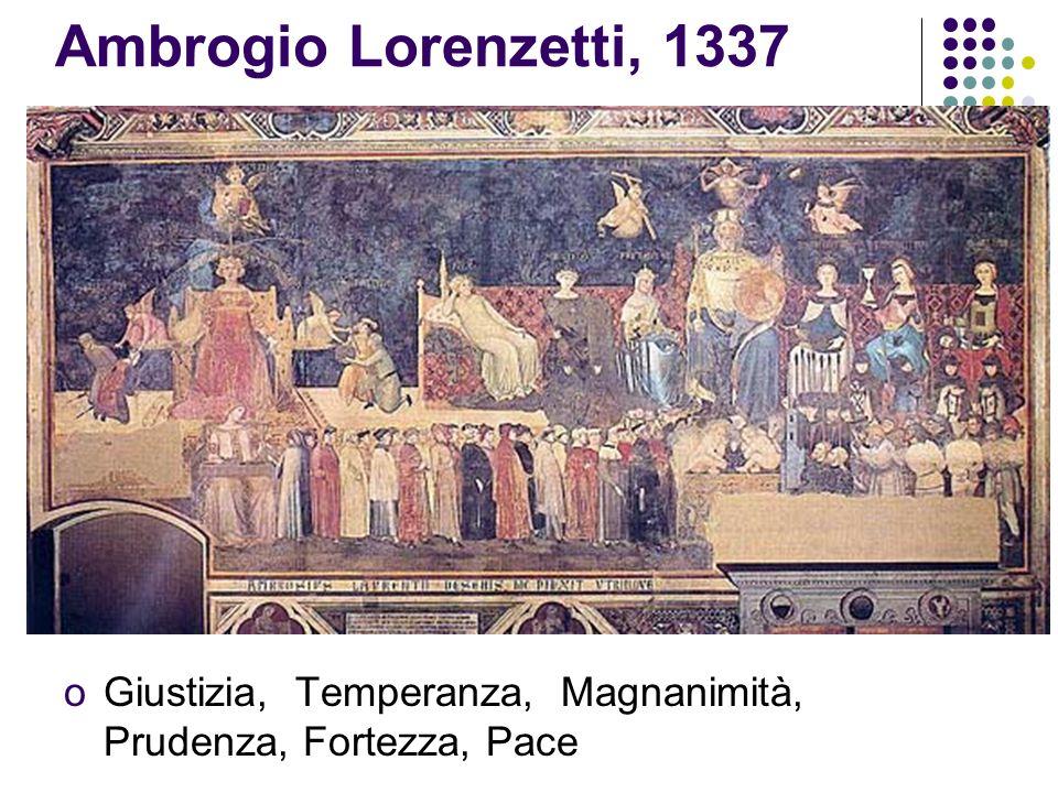 Ambrogio Lorenzetti, 1337 oGiustizia, Temperanza, Magnanimità, Prudenza, Fortezza, Pace