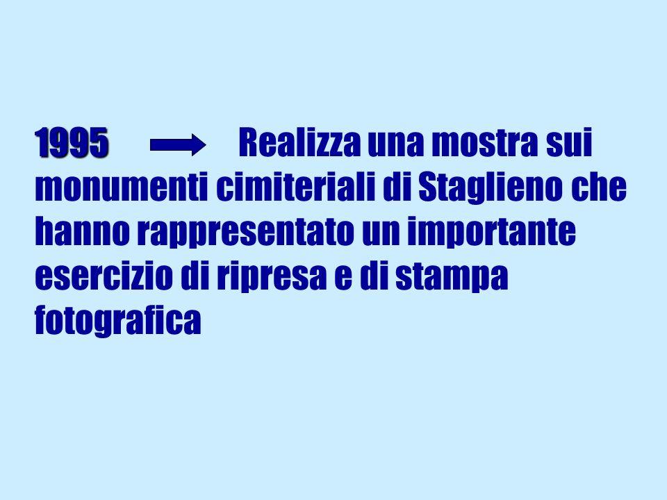 1995 1995 Realizza una mostra sui monumenti cimiteriali di Staglieno che hanno rappresentato un importante esercizio di ripresa e di stampa fotografica