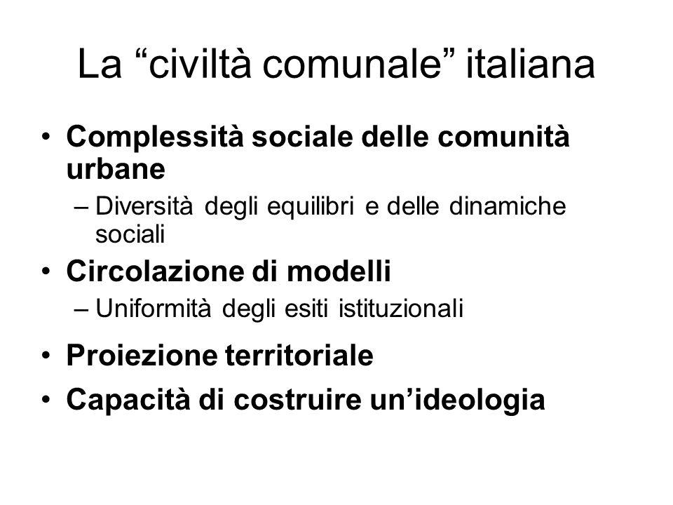 La civiltà comunale italiana Complessità sociale delle comunità urbane –Diversità degli equilibri e delle dinamiche sociali Circolazione di modelli –U