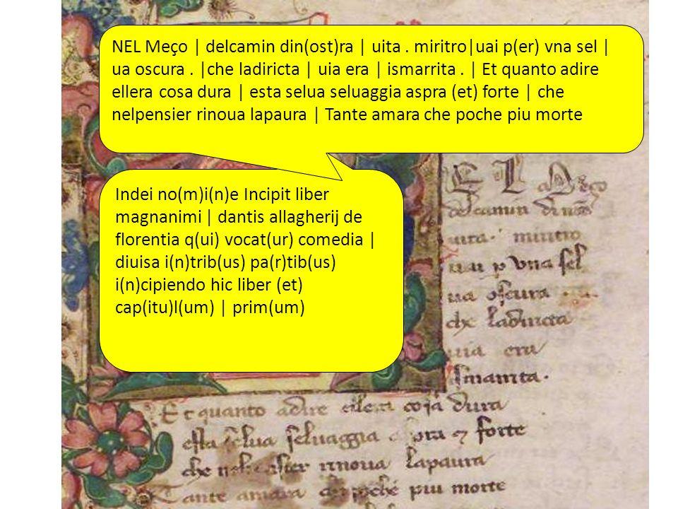 Indei no(m)i(n)e Incipit liber magnanimi | dantis allagherij de florentia q(ui) vocat(ur) comedia | diuisa i(n)trib(us) pa(r)tib(us) i(n)cipiendo hic