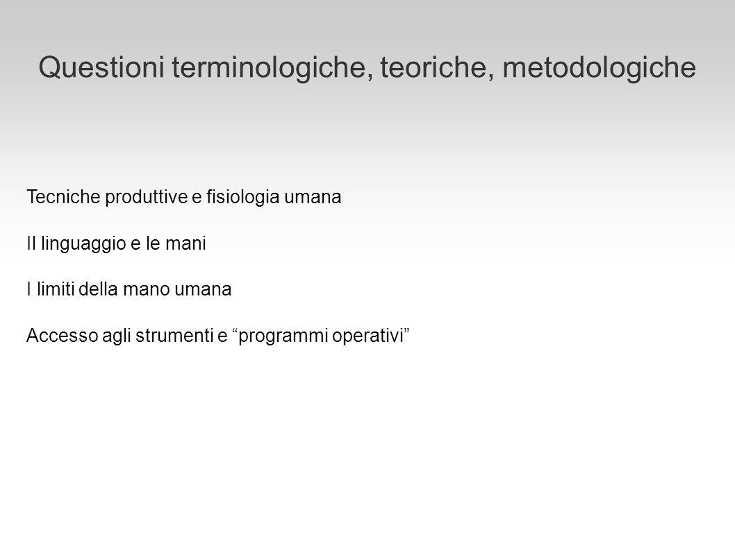 Questioni terminologiche, teoriche, metodologiche Tecniche produttive e fisiologia umana Il linguaggio e le mani I limiti della mano umana Accesso agl