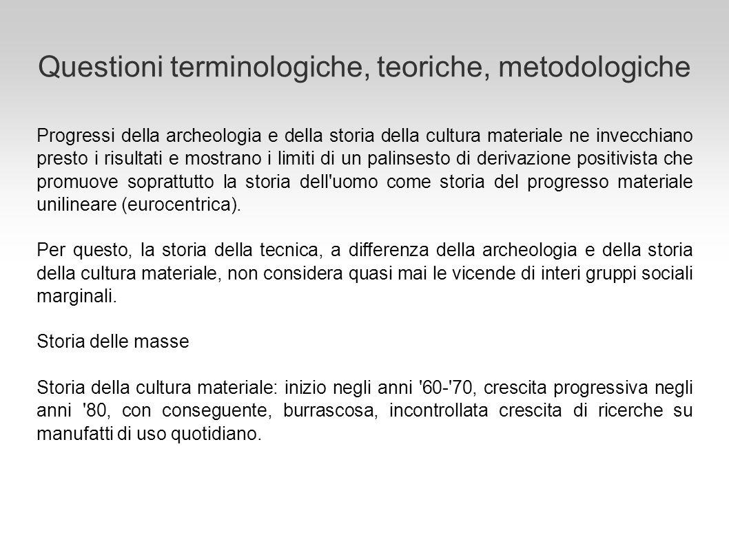 Questioni terminologiche, teoriche, metodologiche Progressi della archeologia e della storia della cultura materiale ne invecchiano presto i risultati