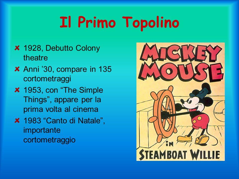 Il Primo Topolino 1928, Debutto Colony theatre Anni 30, compare in 135 cortometraggi 1953, con The Simple Things, appare per la prima volta al cinema