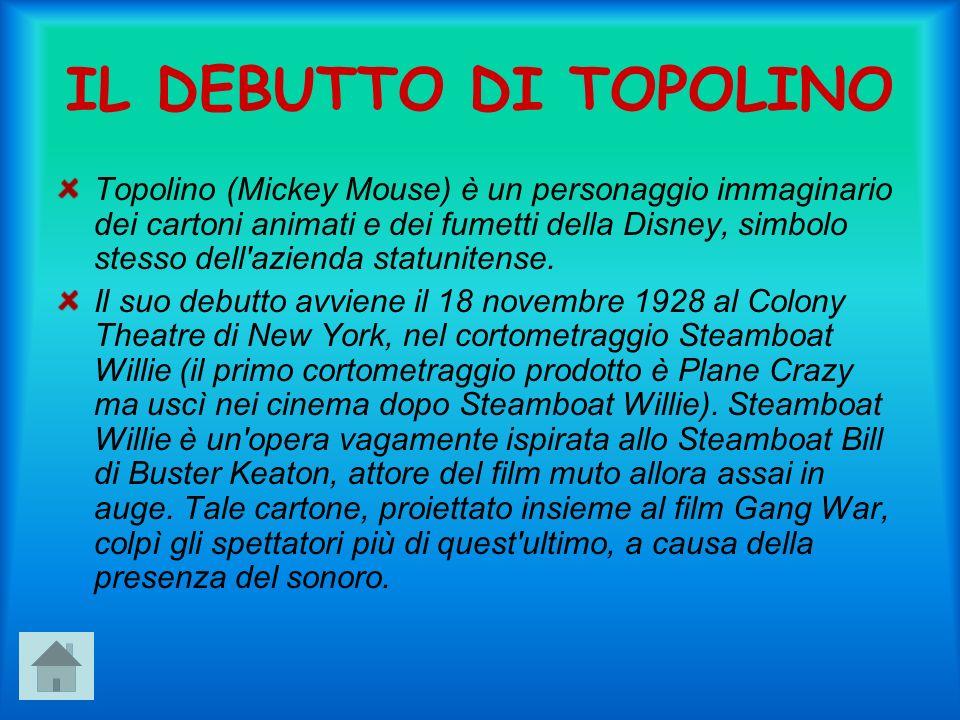 IL DEBUTTO DI TOPOLINO Topolino (Mickey Mouse) è un personaggio immaginario dei cartoni animati e dei fumetti della Disney, simbolo stesso dell azienda statunitense.