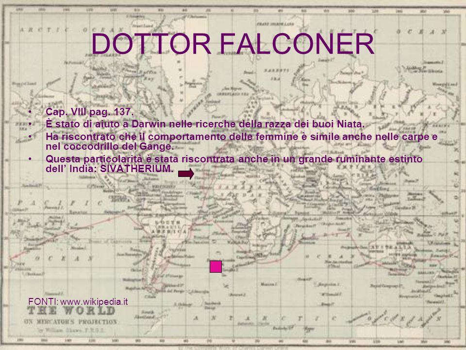 DOTTOR FALCONER Cap. VIII pag. 137. È stato di aiuto a Darwin nelle ricerche della razza dei buoi Niata. Ha riscontrato che il comportamento delle fem