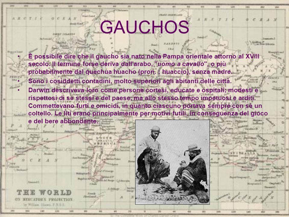 GAUCHOS È possibile dire che il gaucho sia nato nella Pampa orientale attorno al XVIII secolo. Il termine forse deriva dall'arabo,