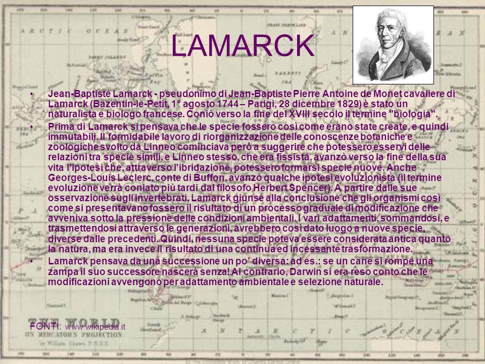 LAMARCK Jean-Baptiste Lamarck - pseudonimo di Jean-Baptiste Pierre Antoine de Monet cavaliere di Lamarck (Bazentin-le-Petit, 1° agosto 1744 – Parigi,