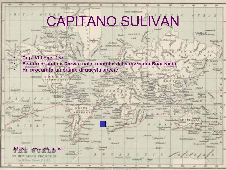 CAPITANO SULIVAN Cap. VIII pag. 137 È stato di aiuto a Darwin nelle ricerche della razza dei Buoi Niata. Ha procurato un cranio di questa specie. FONT