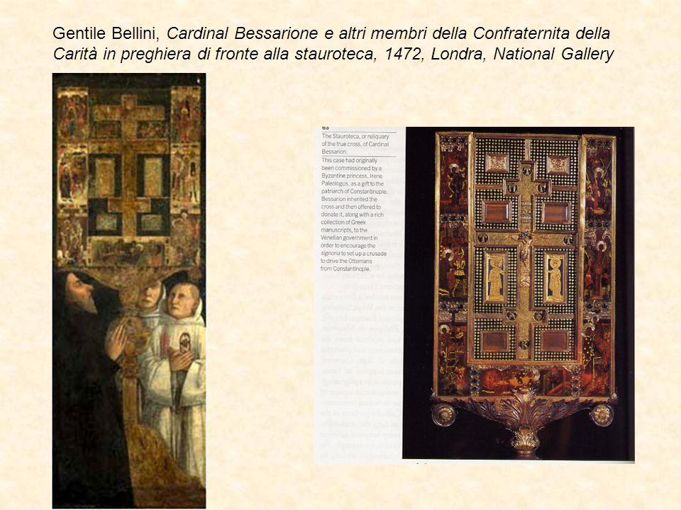 Gentile Bellini, Cardinal Bessarione e altri membri della Confraternita della Carità in preghiera di fronte alla stauroteca, 1472, Londra, National Gallery