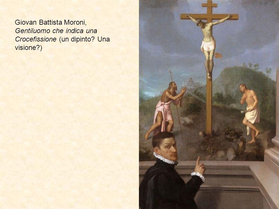 Giovan Battista Moroni, Gentiluomo che indica una Crocefissione (un dipinto? Una visione?)