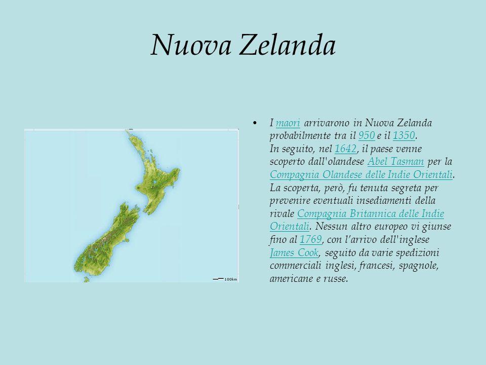 Nuova Zelanda I maori arrivarono in Nuova Zelanda probabilmente tra il 950 e il 1350.