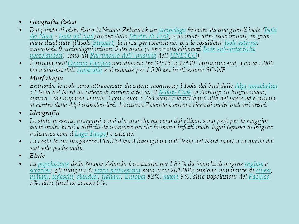 Geografia fisica Dal punto di vista fisico la Nuova Zelanda è un arcipelago formato da due grandi isole (Isola del Nord e Isola del Sud) divise dallo Stretto di Cook, e da molte altre isole minori, in gran parte disabitate (l Isola Stewart, la terza per estensione, più le cosiddette Isole esterne, ovverossia 9 arcipelaghi minori 5 dei quali (a loro volta chiamati Isole sub-antartiche neozelandesi) sono un Patrimonio dell umanità dell UNESCO).arcipelagoIsola del NordIsola del SudStretto di CookStewartIsole esterneIsole sub-antartiche neozelandesiPatrimonio dell umanitàUNESCO È situata nell Oceano Pacifico meridionale tra 34°15 e 47°30 latitudine sud, a circa 2.000 km a sud-est dall Australia e si estende per 1.500 km in direzione SO-NEOceano PacificoAustralia Morfologia Entrambe le isole sono attraversate da catene montuose; l Isola del Sud dalle Alpi neozeladesi e l Isola del Nord da catene di minore altezza.