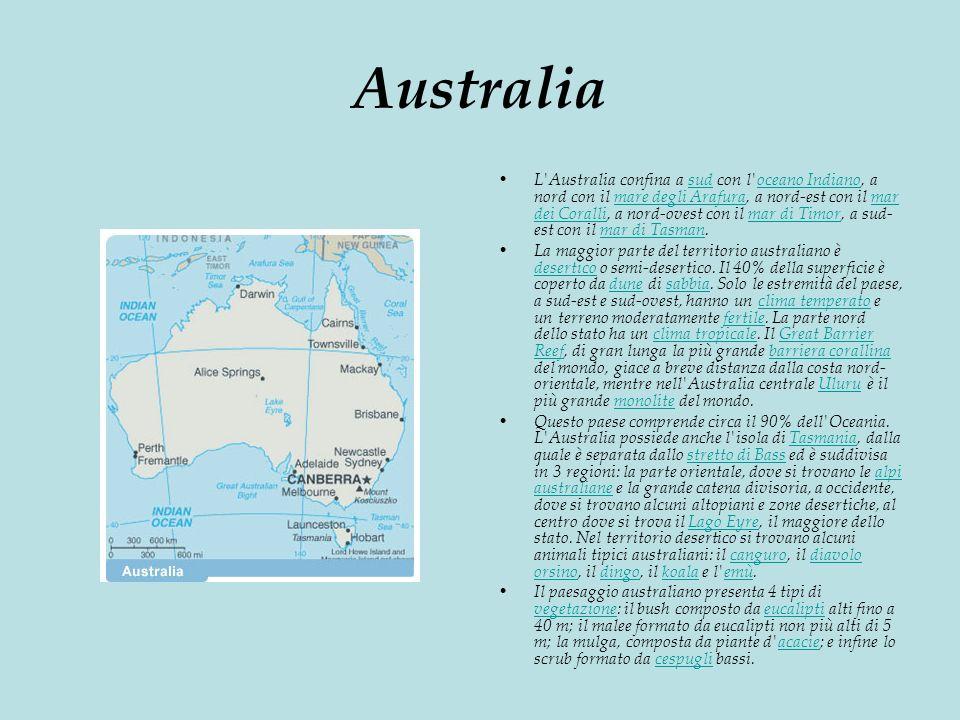 Australia L Australia confina a sud con l oceano Indiano, a nord con il mare degli Arafura, a nord-est con il mar dei Coralli, a nord-ovest con il mar di Timor, a sud- est con il mar di Tasman.sudoceano Indianomare degli Arafuramar dei Corallimar di Timormar di Tasman La maggior parte del territorio australiano è desertico o semi-desertico.