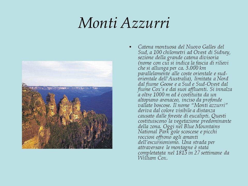 Monti Azzurri Catena montuosa del Nuovo Galles del Sud, a 100 chilometri ad Ovest di Sidney, sezione della grande catena divisoria (nome con cui si indica la fascia di rilievi che si allunga per ca.