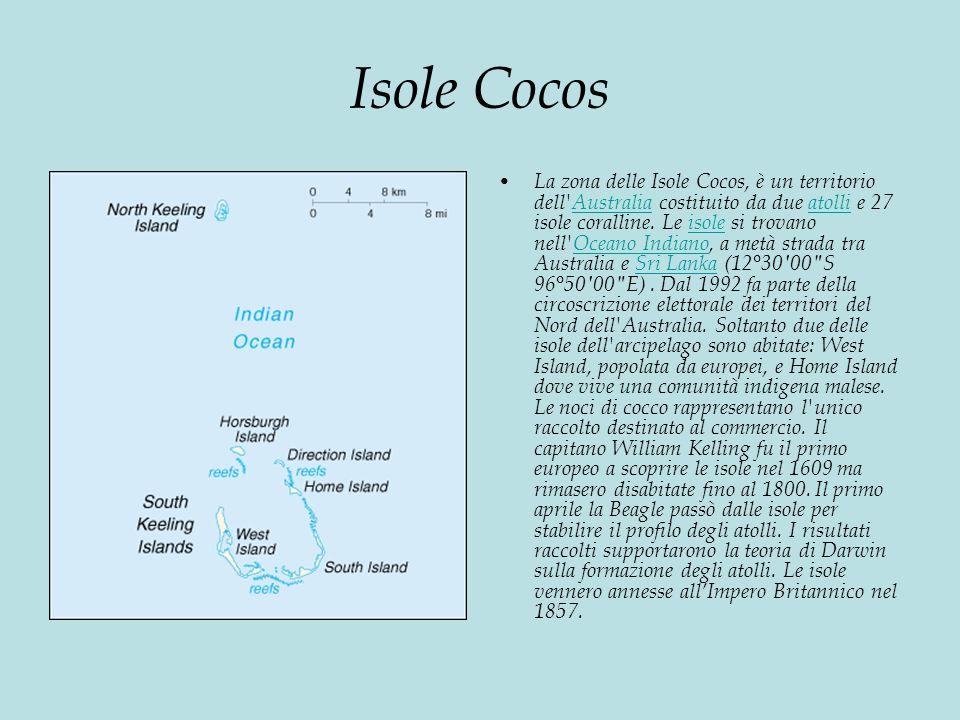 Isole Cocos La zona delle Isole Cocos, è un territorio dell Australia costituito da due atolli e 27 isole coralline.