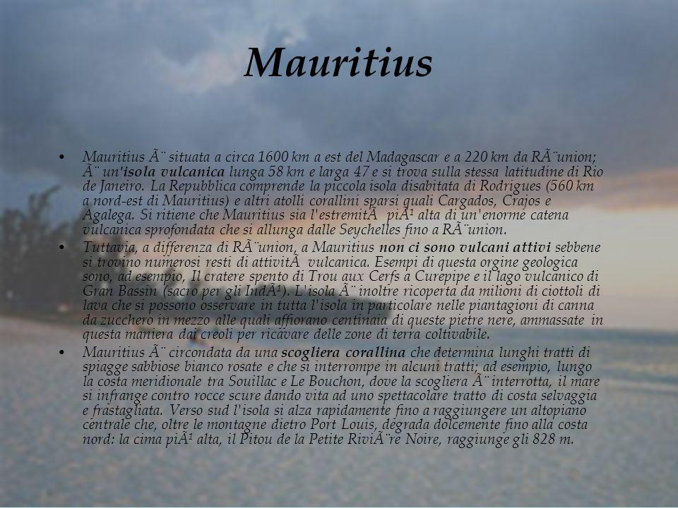 Mauritius Mauritius è situata a circa 1600 km a est del Madagascar e a 220 km da Rèunion; è un isola vulcanica lunga 58 km e larga 47 e si trova sulla stessa latitudine di Rio de Janeiro.