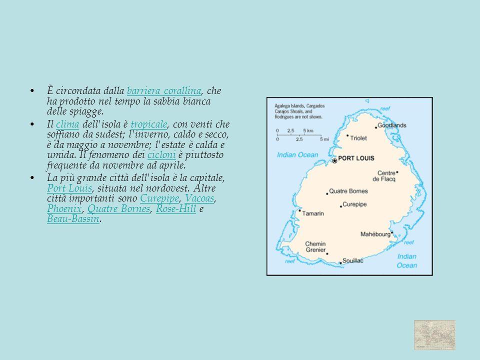 È circondata dalla barriera corallina, che ha prodotto nel tempo la sabbia bianca delle spiagge.barriera corallina Il clima dell isola è tropicale, con venti che soffiano da sudest; l inverno, caldo e secco, è da maggio a novembre; l estate è calda e umida.