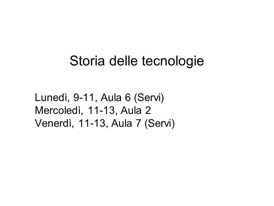 Storia delle tecnologie Lunedì, 9-11, Aula 6 (Servi) Mercoledì, 11-13, Aula 2 Venerdì, 11-13, Aula 7 (Servi)
