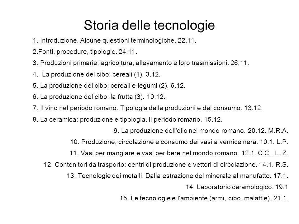 Storia delle tecnologie 1. Introduzione. Alcune questioni terminologiche.
