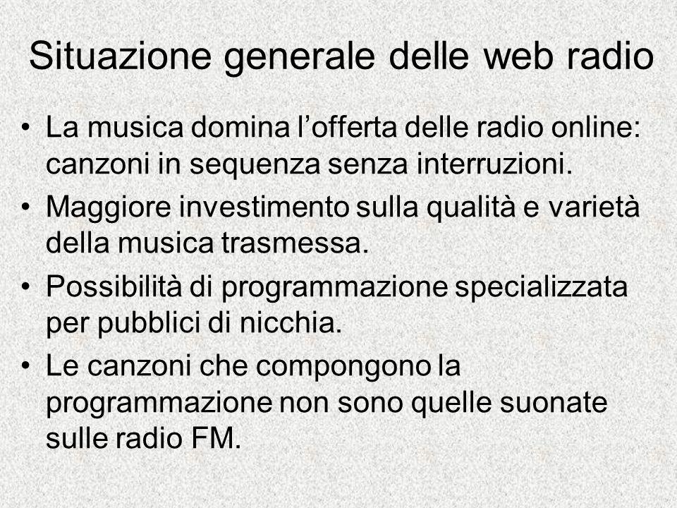 Struttura di una web radio Finalizzata a dare risalto alla musica ed agli artisti.