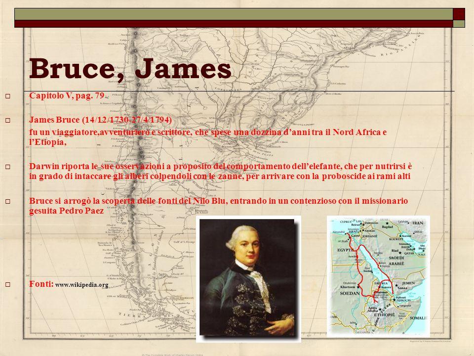 Bruce, James Capitolo V, pag. 79 James Bruce (14/12/1730-27/4/1794) fu un viaggiatore,avventuriero e scrittore, che spese una dozzina danni tra il Nor