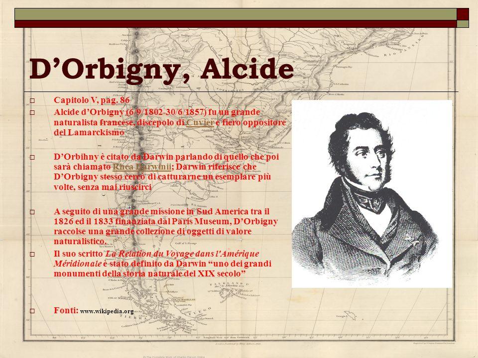 DOrbigny, Alcide Capitolo V, pag. 86 Alcide dOrbigny (6/9/1802-30/6/1857) fu un grande naturalista francese, discepolo di Cuvier e fiero oppositore de