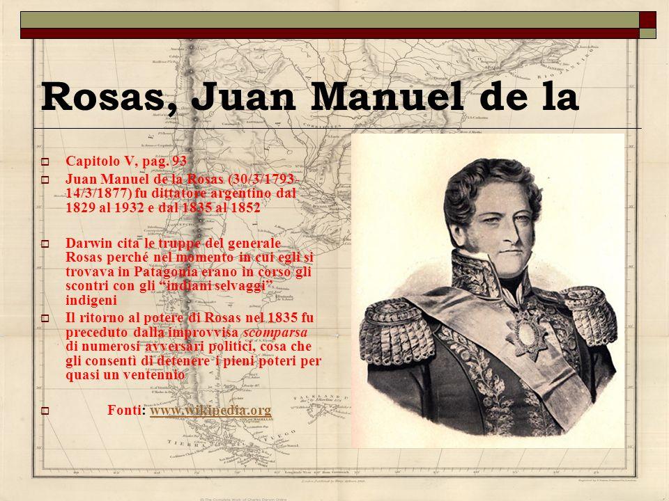 Rosas, Juan Manuel de la Capitolo V, pag. 93 Juan Manuel de la Rosas (30/3/1793- 14/3/1877) fu dittatore argentino dal 1829 al 1932 e dal 1835 al 1852