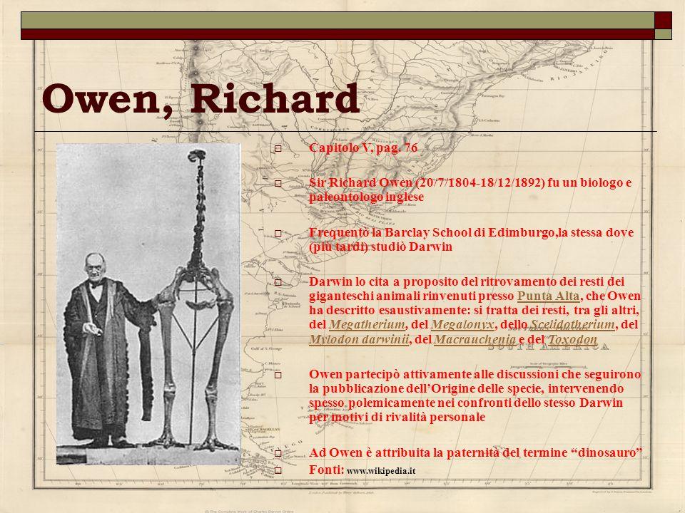 Owen, Richard Capitolo V, pag. 76 Sir Richard Owen (20/7/1804-18/12/1892) fu un biologo e paleontologo inglese Frequentò la Barclay School di Edimburg