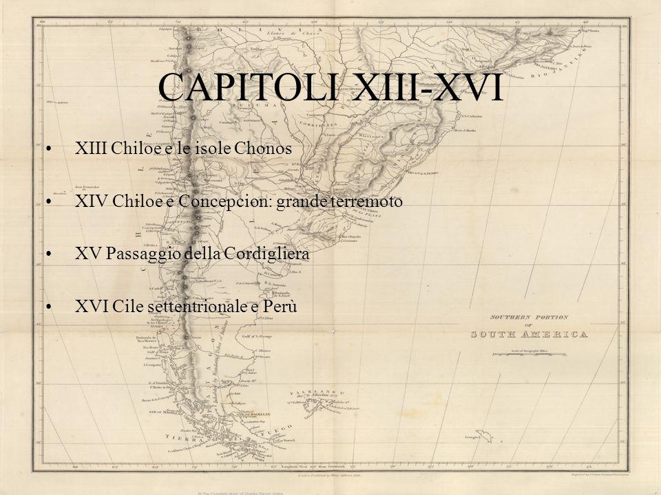 CAPITOLI XIII-XVI XIII Chiloe e le isole Chonos XIV Chiloe e Concepcion: grande terremoto XV Passaggio della Cordigliera XVI Cile settentrionale e Per