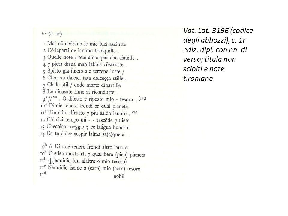 Vat. Lat. 3196 (codice degli abbozzi), c. 1r ediz. dipl. con nn. di verso; titula non sciolti e note tironiane