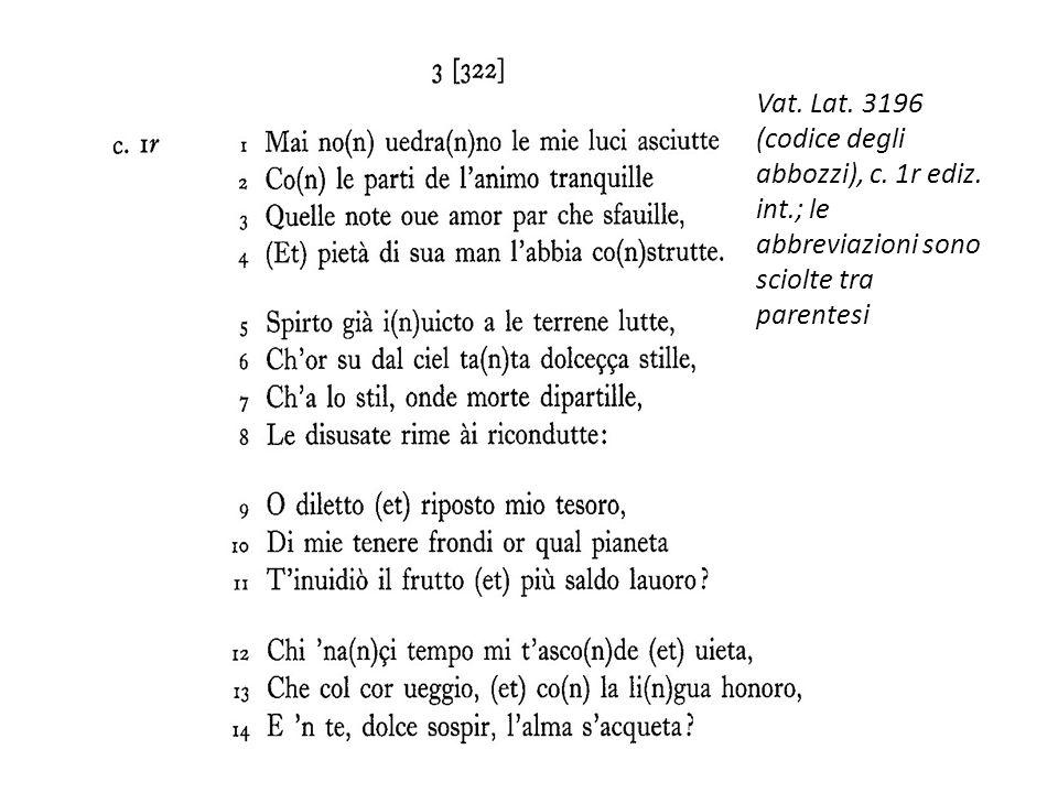 Vat. Lat. 3196 (codice degli abbozzi), c. 1r ediz. int.; le abbreviazioni sono sciolte tra parentesi