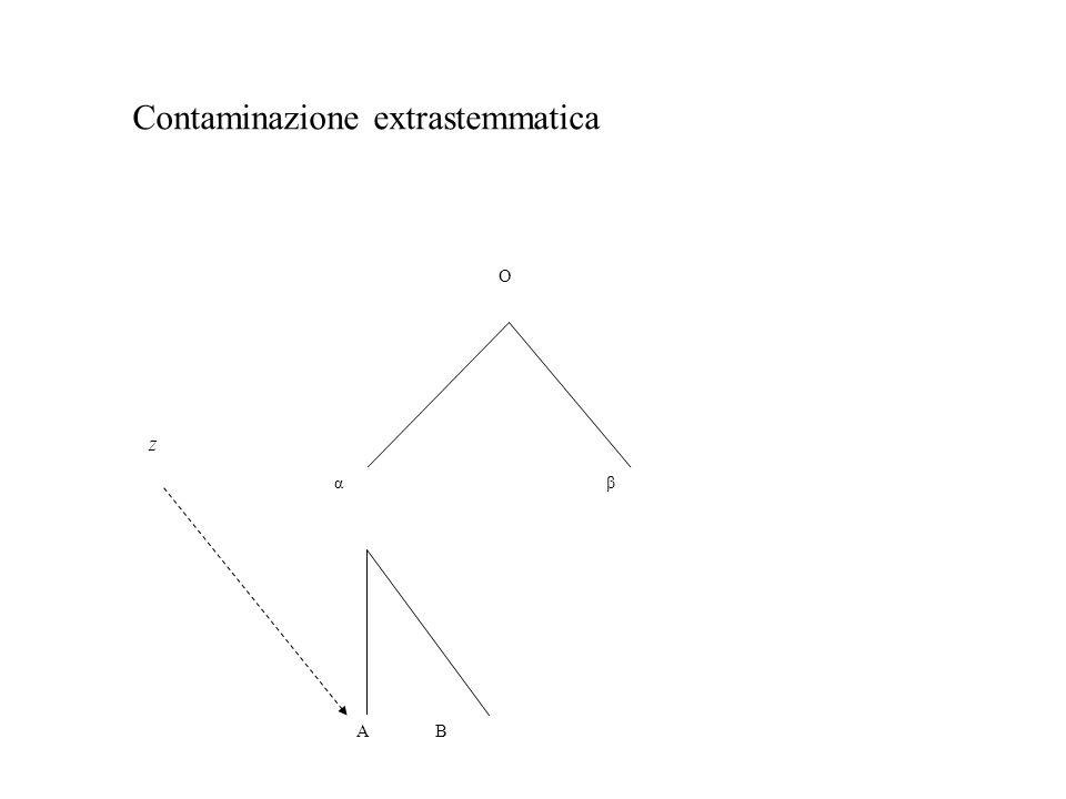 O α A B β z Contaminazione extrastemmatica