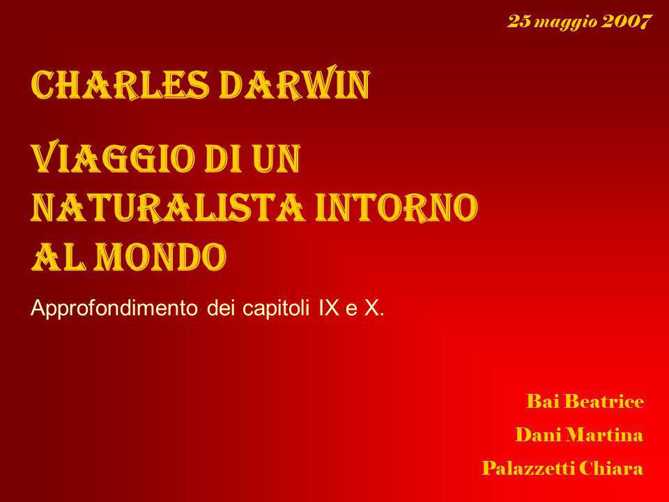 Charles Darwin Viaggio di un naturalista intorno al mondo Approfondimento dei capitoli IX e X. Bai Beatrice Dani Martina Palazzetti Chiara 25 maggio 2