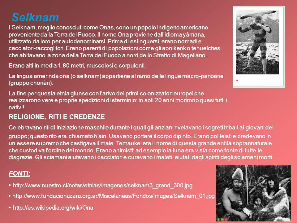 Selknam I Selknam, meglio conosciuti come Onas, sono un popolo indigeno americano proveniente dalla Terra del Fuoco. Il nome Ona proviene dallidioma y