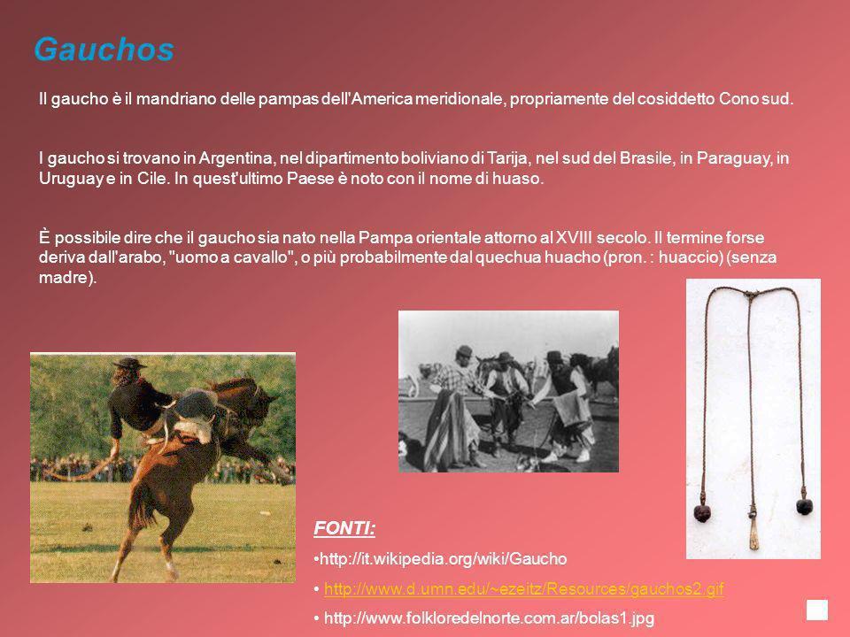 Gauchos Il gaucho è il mandriano delle pampas dell'America meridionale, propriamente del cosiddetto Cono sud. I gaucho si trovano in Argentina, nel di