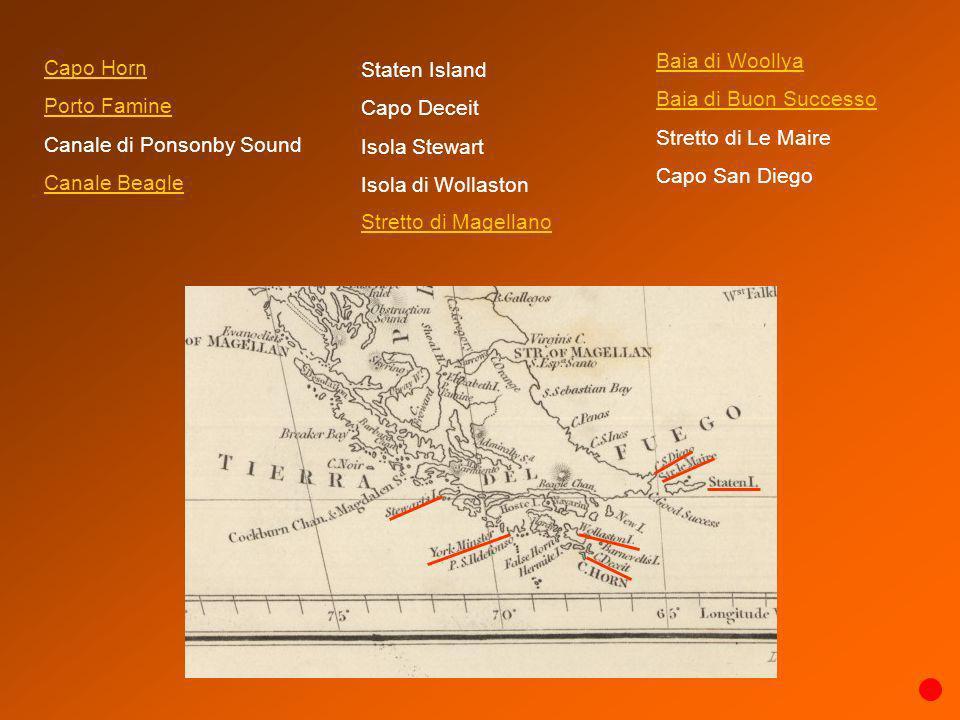 Capo Horn Porto Famine Canale di Ponsonby Sound Canale Beagle Baia di Woollya Baia di Buon Successo Stretto di Le Maire Capo San Diego Staten Island C