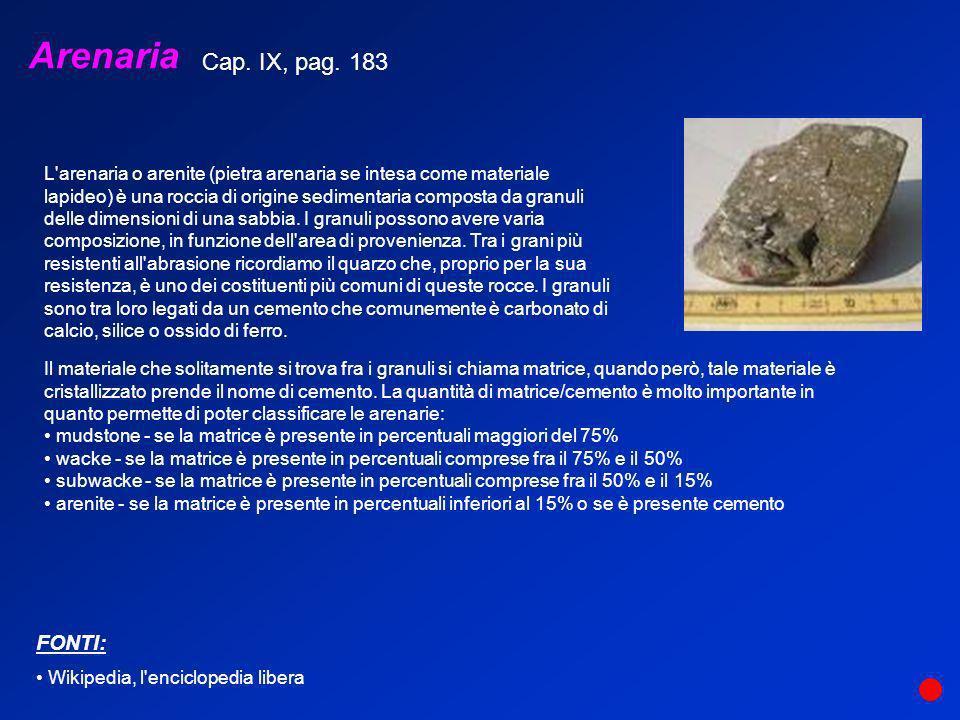 Arenaria L'arenaria o arenite (pietra arenaria se intesa come materiale lapideo) è una roccia di origine sedimentaria composta da granuli delle dimens