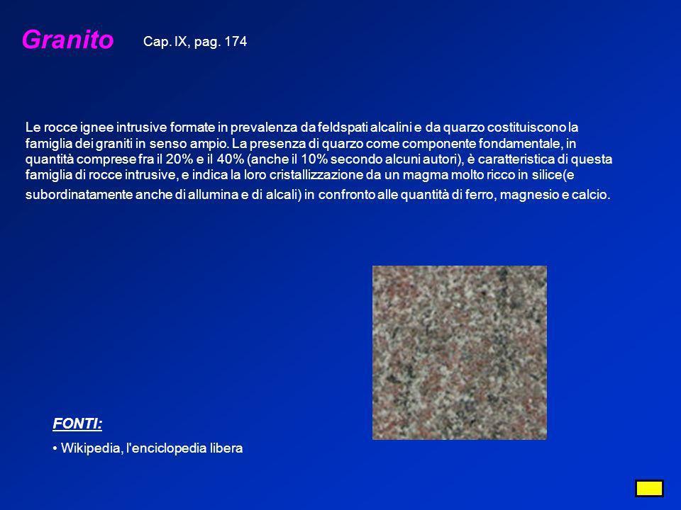 Granito FONTI: Wikipedia, l'enciclopedia libera Le rocce ignee intrusive formate in prevalenza da feldspati alcalini e da quarzo costituiscono la fami