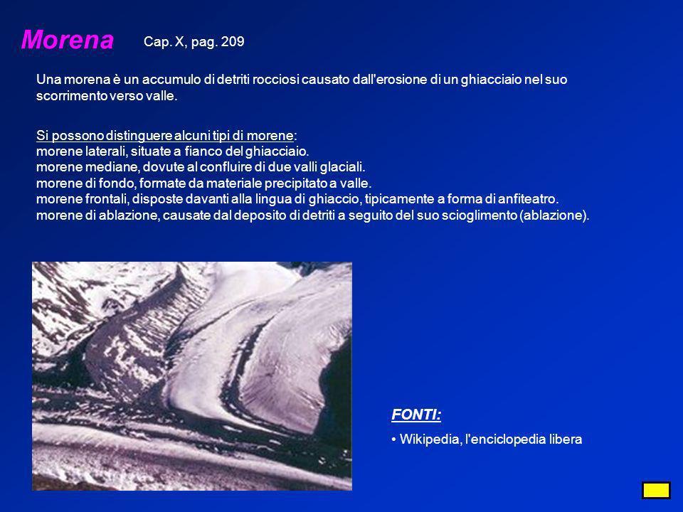 Morena Una morena è un accumulo di detriti rocciosi causato dall'erosione di un ghiacciaio nel suo scorrimento verso valle. Si possono distinguere alc