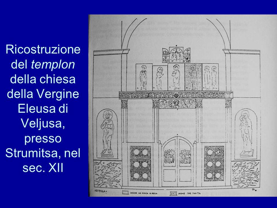 Ricostruzione del templon della chiesa della Vergine Eleusa di Veljusa, presso Strumitsa, nel sec. XII