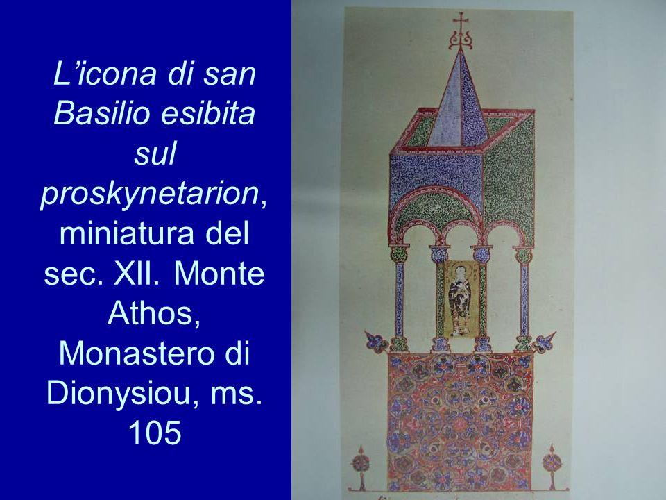 Licona di san Basilio esibita sul proskynetarion, miniatura del sec. XII. Monte Athos, Monastero di Dionysiou, ms. 105