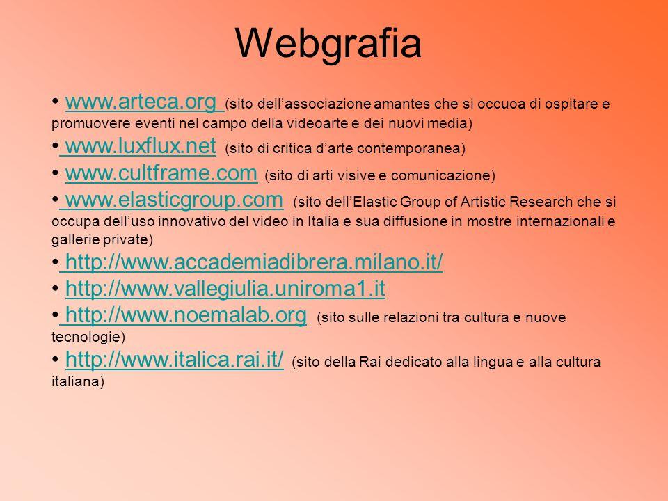 Webgrafia www.arteca.org (sito dellassociazione amantes che si occuoa di ospitare e promuovere eventi nel campo della videoarte e dei nuovi media)www.