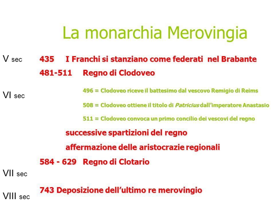 V sec VI sec VII sec VIII sec 435I Franchi si stanziano come federati nel Brabante 481-511Regno di Clodoveo 496 = Clodoveo riceve il battesimo dal ves