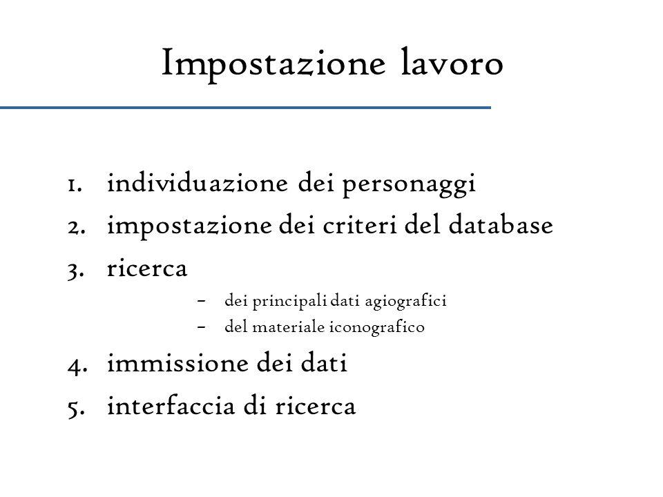 Impostazione lavoro 1.individuazione dei personaggi 2.impostazione dei criteri del database 3.ricerca –dei principali dati agiografici –del materiale
